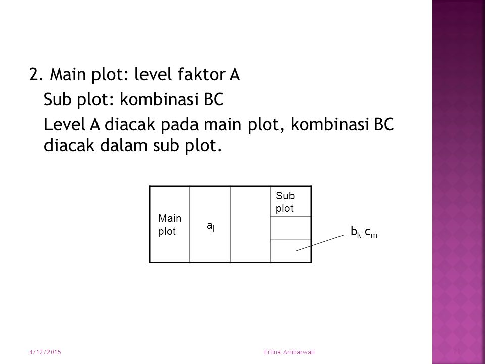 2. Main plot: level faktor A Sub plot: kombinasi BC Level A diacak pada main plot, kombinasi BC diacak dalam sub plot. Main plot ajaj Sub plot b k c m