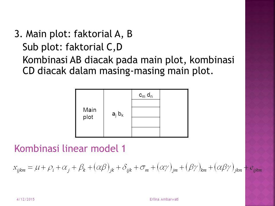 3. Main plot: faktorial A, B Sub plot: faktorial C,D Kombinasi AB diacak pada main plot, kombinasi CD diacak dalam masing-masing main plot. Kombinasi