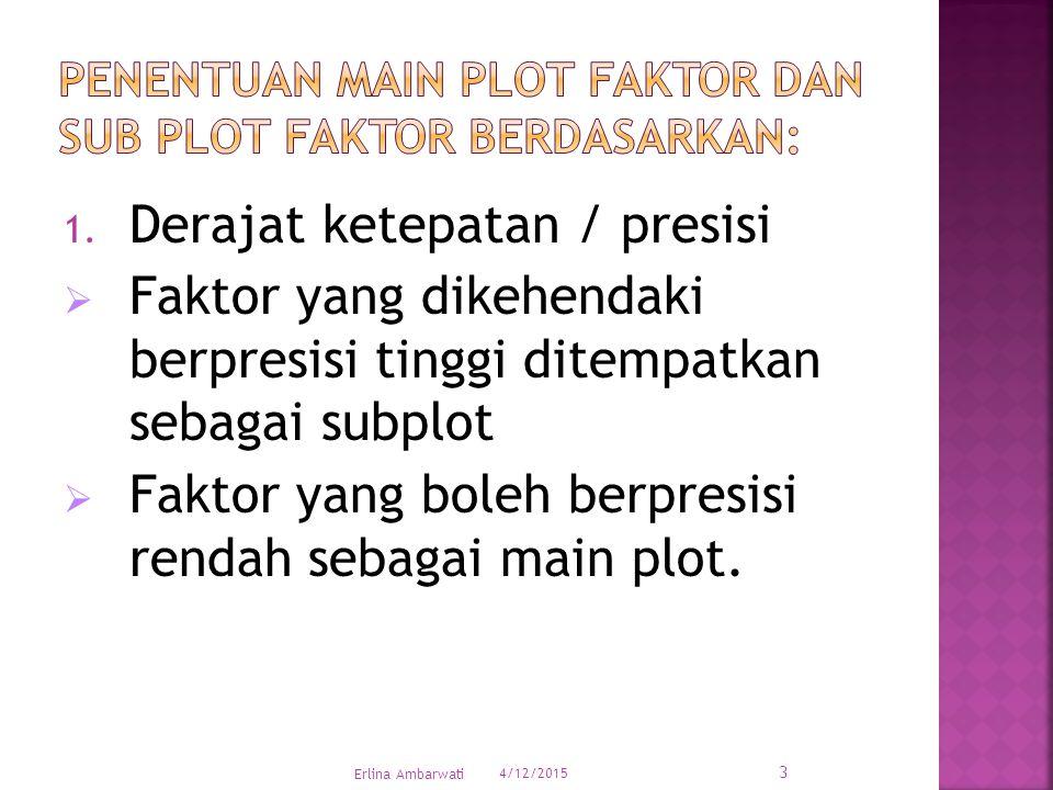 1. Derajat ketepatan / presisi  Faktor yang dikehendaki berpresisi tinggi ditempatkan sebagai subplot  Faktor yang boleh berpresisi rendah sebagai m