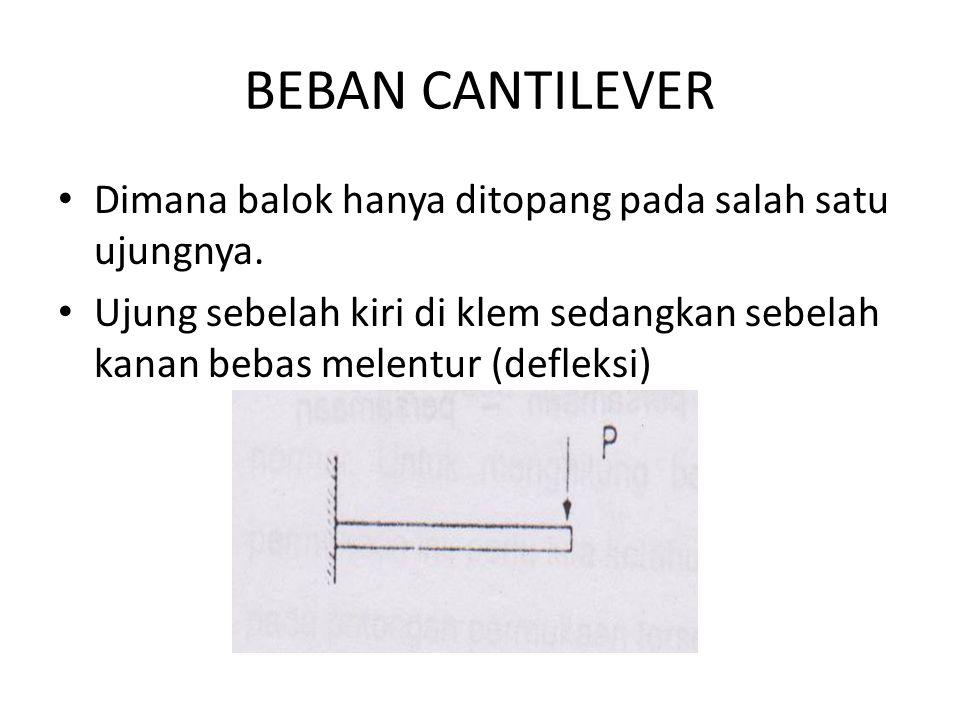 BEBAN CANTILEVER Dimana balok hanya ditopang pada salah satu ujungnya. Ujung sebelah kiri di klem sedangkan sebelah kanan bebas melentur (defleksi)