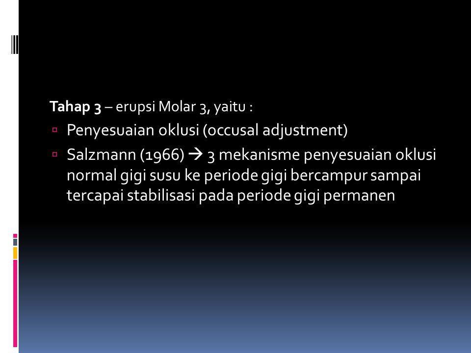 Tahap 3 – erupsi Molar 3, yaitu :  Penyesuaian oklusi (occusal adjustment)  Salzmann (1966)  3 mekanisme penyesuaian oklusi normal gigi susu ke per