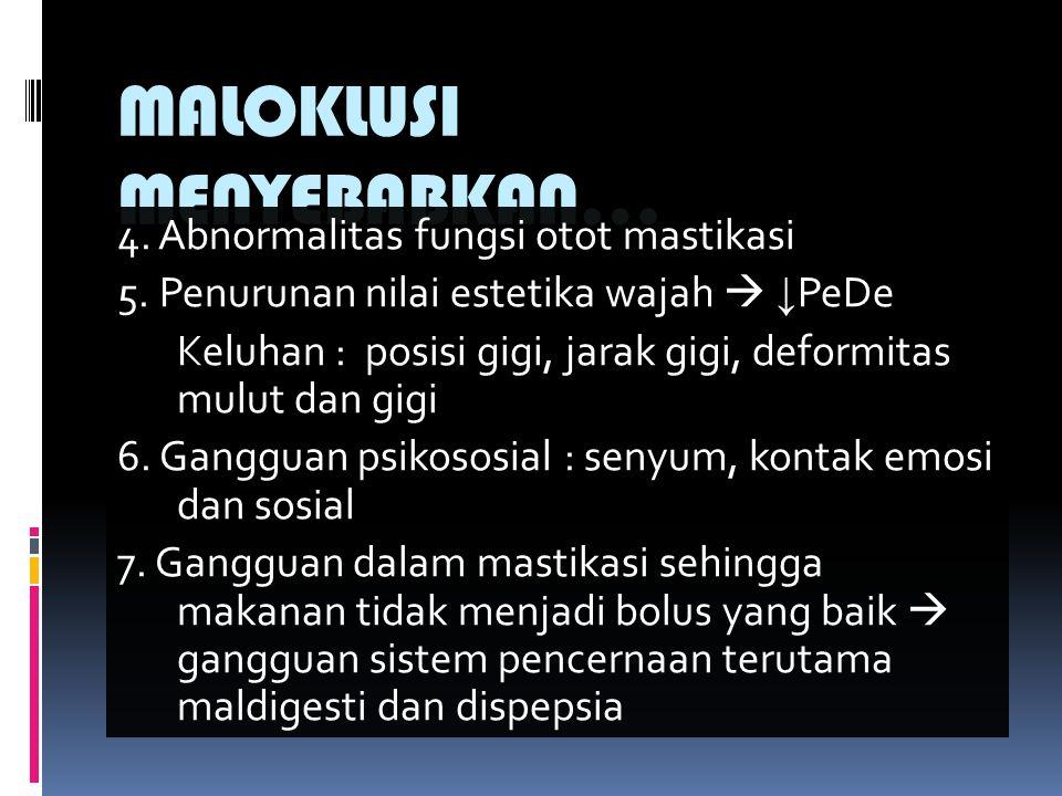 MALOKLUSI MENYEBABKAN… 4.Abnormalitas fungsi otot mastikasi 5.