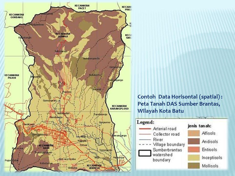 Contoh Data Horisontal (spatial) : Peta Tanah DAS Sumber Brantas, Wilayah Kota Batu