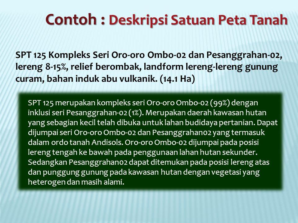 SPT 125 Kompleks Seri Oro-oro Ombo-02 dan Pesanggrahan-02, lereng 8-15%, relief berombak, landform lereng-lereng gunung curam, bahan induk abu vulkanik.