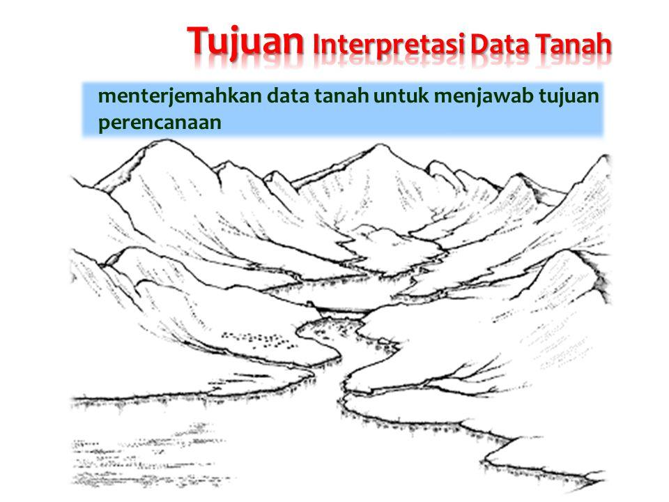 menterjemahkan data tanah untuk menjawab tujuan perencanaan