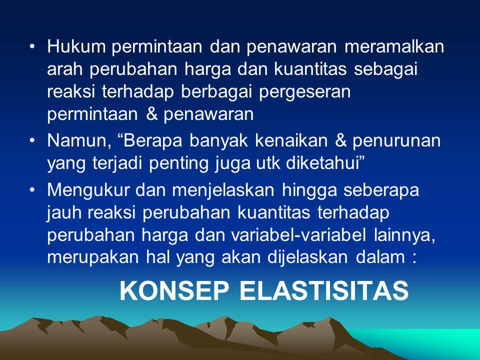 23 Hasil perhitungan Es > 1 disebut elastis Es < 1 disebut in elastis Es = 1 disebut unitary elastis Es = 0 disebut in elastis sempurna Es = ∞ disebut elastis sempurna