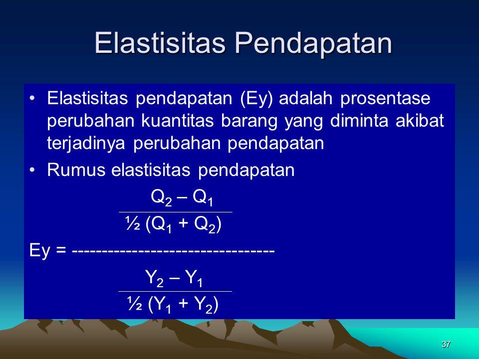 37 Elastisitas Pendapatan Elastisitas Pendapatan Elastisitas pendapatan (Ey) adalah prosentase perubahan kuantitas barang yang diminta akibat terjadinya perubahan pendapatan Rumus elastisitas pendapatan Q 2 – Q 1 ½ (Q 1 + Q 2 ) Ey = --------------------------------- Y 2 – Y 1 ½ (Y 1 + Y 2 )