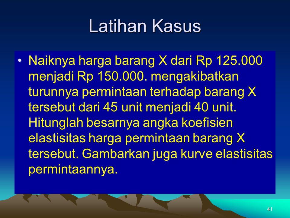 41 Latihan Kasus Naiknya harga barang X dari Rp 125.000 menjadi Rp 150.000.