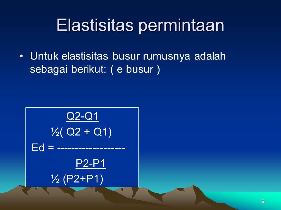 Koefisien Elastisitas Elastisitas Titik (point elasticity) titik A B; B A Secara matematis e d = Elastisitas permintaan ∆Q =Perubahan quantitas ∆P = Perubahan harga P Q A B 0 Elastisitas Busur (Arc elasticity) busur CD Secara matematis e d = Elastisitas permintaan ∆Q =Perubahan quantitas ∆P = Perubahan harga P Q 0 C D P1P1 P2P2 Q1Q1 Q2Q2 P1P1 P2P2 Q1Q1 Q2Q2