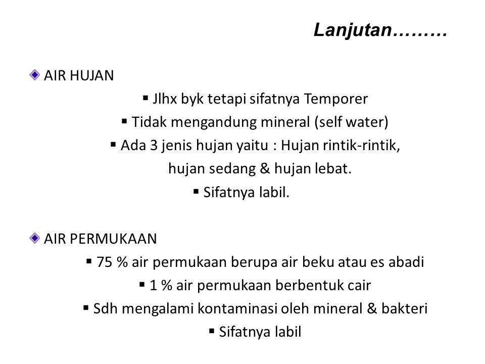 AIR HUJAN  Jlhx byk tetapi sifatnya Temporer  Tidak mengandung mineral (self water)  Ada 3 jenis hujan yaitu : Hujan rintik-rintik, hujan sedang &