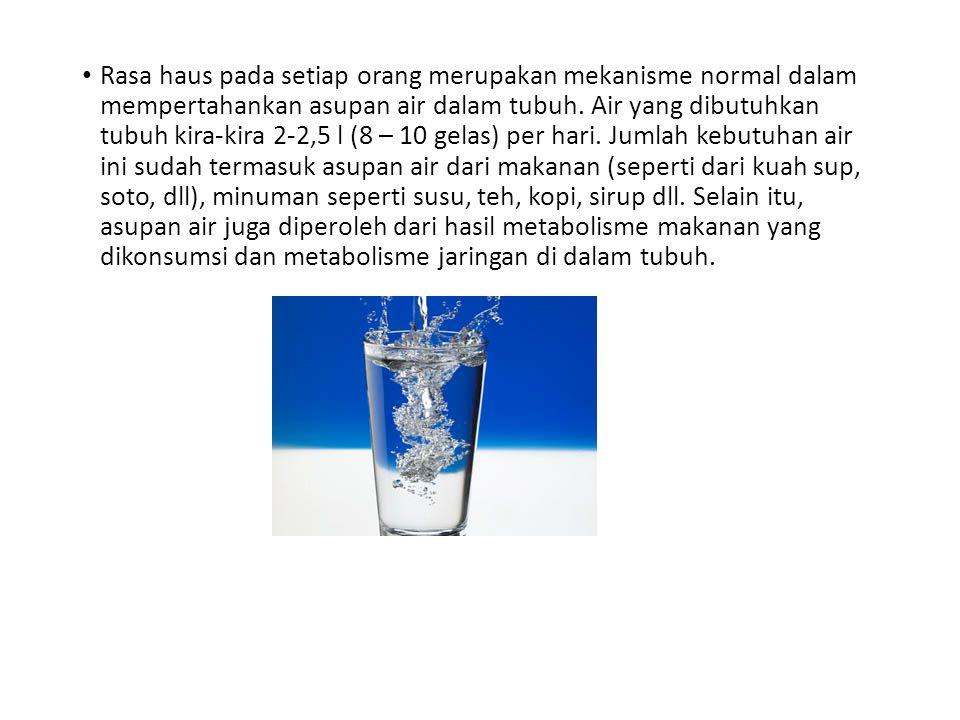 Rasa haus pada setiap orang merupakan mekanisme normal dalam mempertahankan asupan air dalam tubuh. Air yang dibutuhkan tubuh kira-kira 2-2,5 l (8 – 1