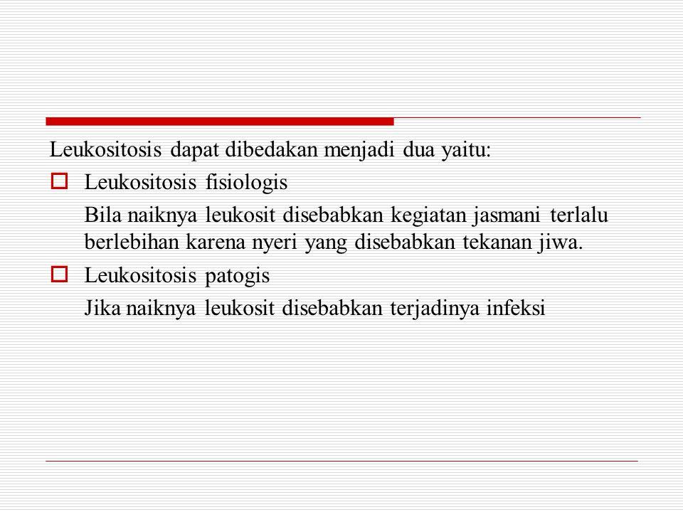 Leukositosis dapat dibedakan menjadi dua yaitu:  Leukositosis fisiologis Bila naiknya leukosit disebabkan kegiatan jasmani terlalu berlebihan karena nyeri yang disebabkan tekanan jiwa.