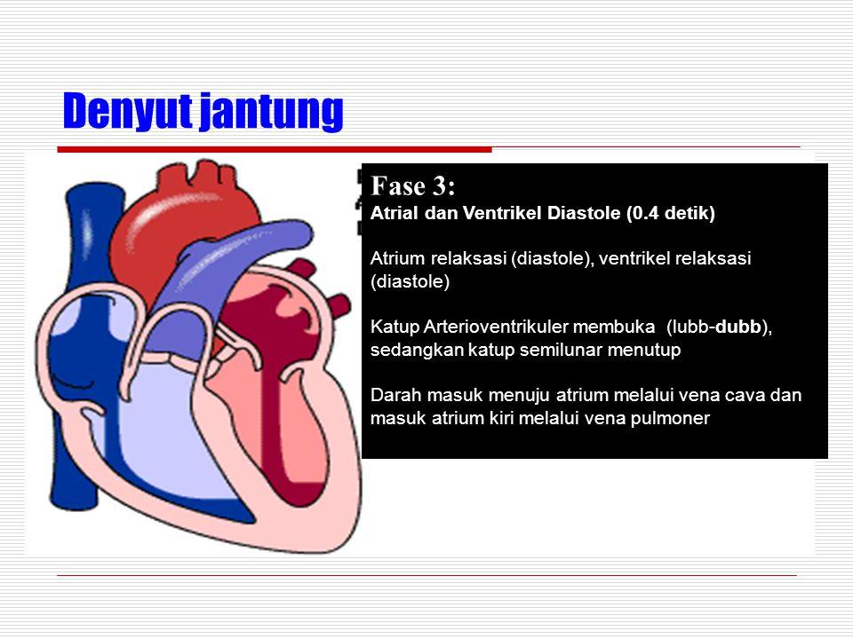 Denyut jantung Fase 3: Atrial dan Ventrikel Diastole (0.4 detik) Atrium relaksasi (diastole), ventrikel relaksasi (diastole) Katup Arterioventrikuler membuka (lubb-dubb), sedangkan katup semilunar menutup Darah masuk menuju atrium melalui vena cava dan masuk atrium kiri melalui vena pulmoner