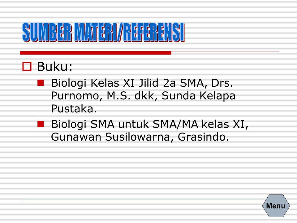  Buku: Biologi Kelas XI Jilid 2a SMA, Drs. Purnomo, M.S. dkk, Sunda Kelapa Pustaka. Biologi SMA untuk SMA/MA kelas XI, Gunawan Susilowarna, Grasindo.