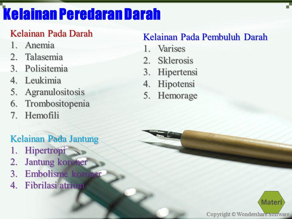 Copyright © Wondershare Software Kelainan Peredaran Darah Kelainan Pada Darah 1.Anemia 2.Talasemia 3.Polisitemia 4.Leukimia 5.Agranulositosis 6.Trombositopenia 7.Hemofili Kelainan Pada Jantung 1.Hipertropi 2.Jantung koroner 3.Embolisme koroner 4.Fibrilasi atrium Kelainan Pada Pembuluh Darah 1.Varises 2.Sklerosis 3.Hipertensi 4.Hipotensi 5.Hemorage Materi