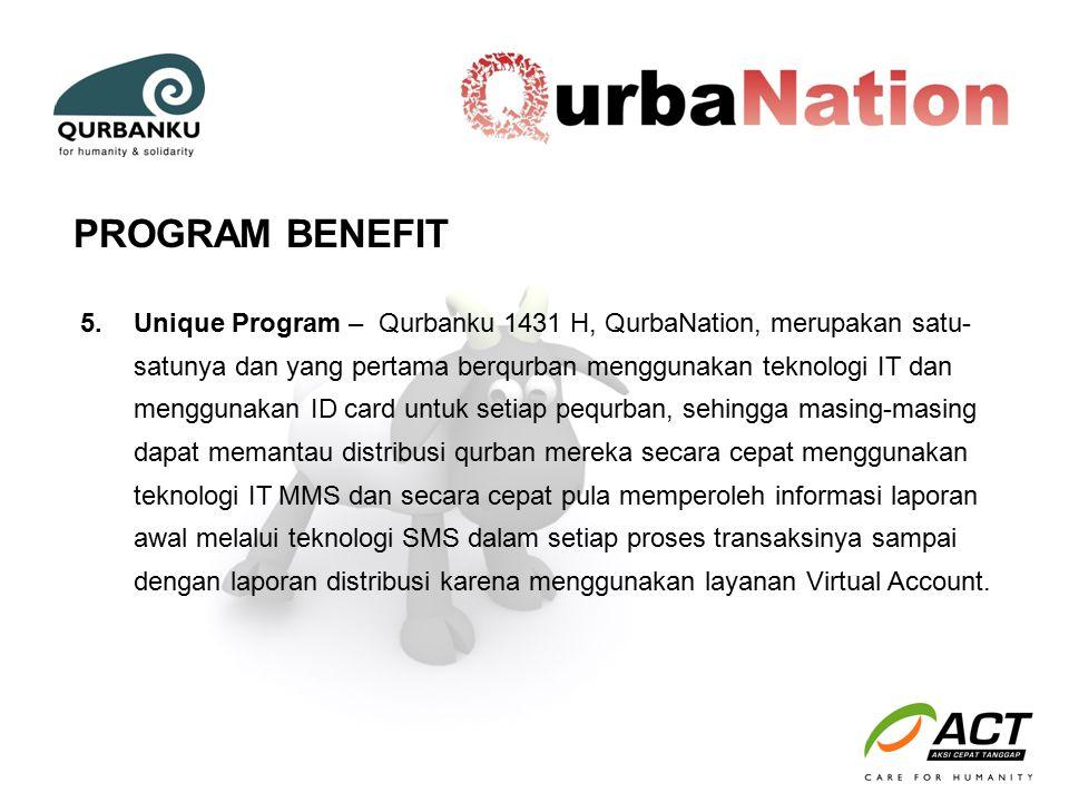 5.Unique Program – Qurbanku 1431 H, QurbaNation, merupakan satu- satunya dan yang pertama berqurban menggunakan teknologi IT dan menggunakan ID card u