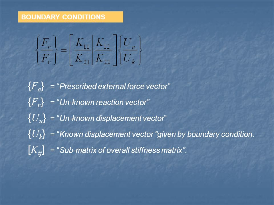 BOUNDARY CONDITIONS { F e } = Prescribed external force vector { F r } = Un-known reaction vector { U u } = Un-known displacement vector { U k } = Known displacement vector given by boundary condition.