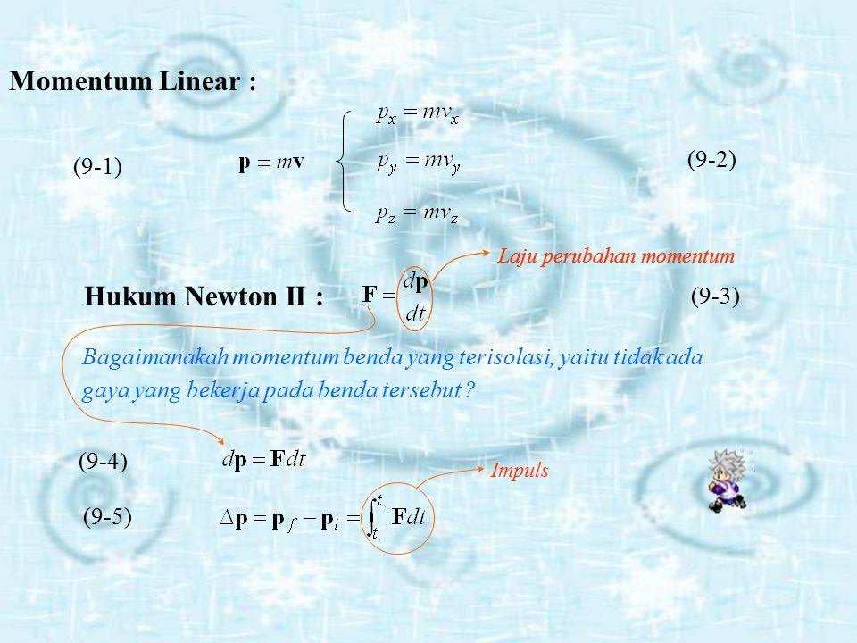 m = massa benda (Kg) v = kecepatan (m/s)