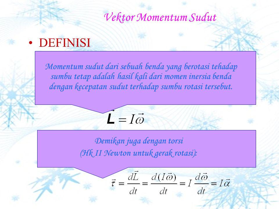 Torsi Momen gaya Torsi berarah positif apabila gaya menghasilkan rotasi yang berlawanan dengan arah jarum jam. Satuan SI dari Torsi: newton.m (N.m)