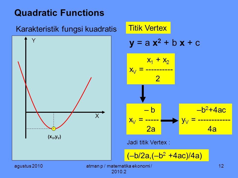 agustus 2010atman p / matematika ekonomi / 2010.2 12 Quadratic Functions Karakteristik fungsi kuadratis Titik Vertex X Y y = a x 2 + b x + c (x V,y V ) – b x V = ----- 2a –b 2 +4ac y V = ------------ 4a x 1 + x 2 x V = ---------- 2 Jadi titik Vertex : (–b/2a,(–b 2 +4ac)/4a)