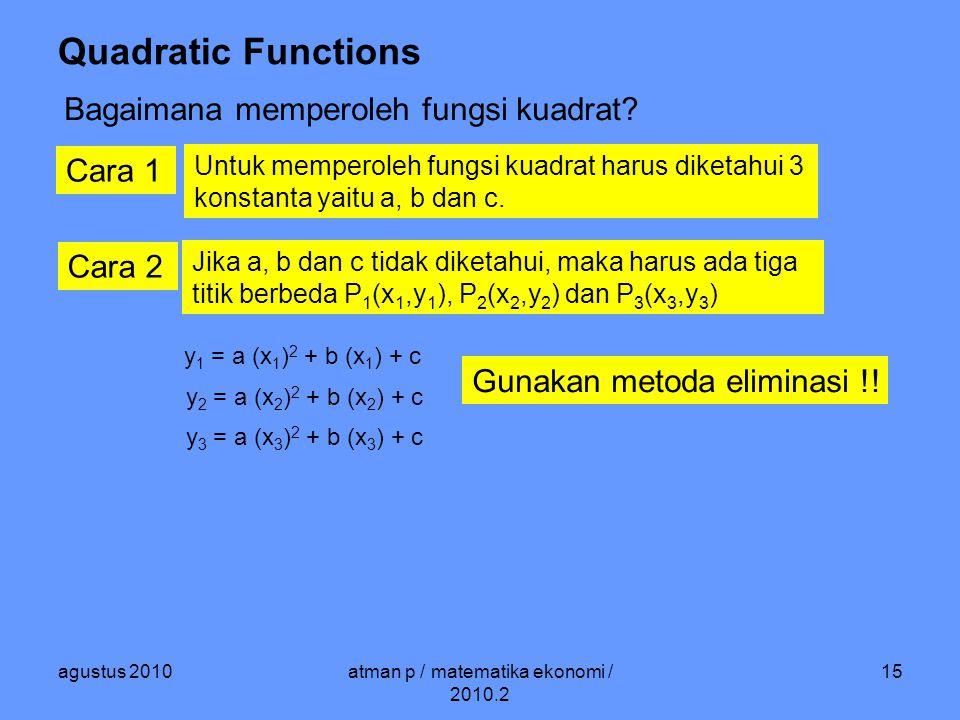 agustus 2010atman p / matematika ekonomi / 2010.2 15 Quadratic Functions Bagaimana memperoleh fungsi kuadrat.