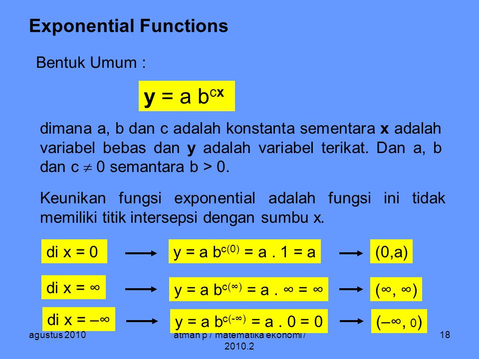 agustus 2010atman p / matematika ekonomi / 2010.2 18 Exponential Functions Bentuk Umum : y = a b cx dimana a, b dan c adalah konstanta sementara x adalah variabel bebas dan y adalah variabel terikat.