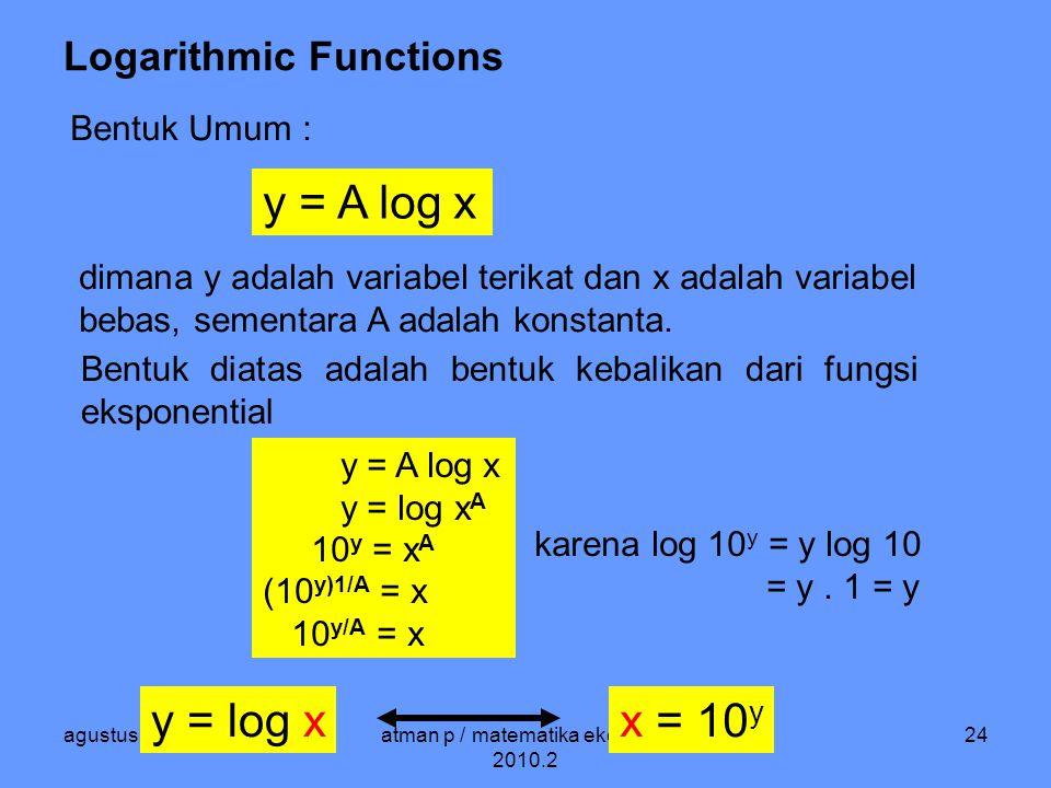 agustus 2010atman p / matematika ekonomi / 2010.2 24 Logarithmic Functions Bentuk Umum : y = A log x dimana y adalah variabel terikat dan x adalah variabel bebas, sementara A adalah konstanta.