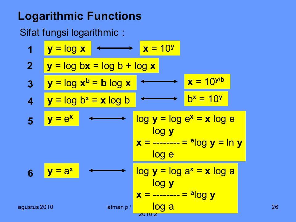 agustus 2010atman p / matematika ekonomi / 2010.2 26 Logarithmic Functions Sifat fungsi logarithmic : y = log bx = log b + log x y = log x b = b log x y = log xx = 10 y 1 2 3 x = 10 y/b y = log b x = x log b 4 b x = 10 y 5 y = e x log y = log e x = x log e log y x = -------- = e log y = ln y log e 6 y = a x log y = log a x = x log a log y x = -------- = a log y log a