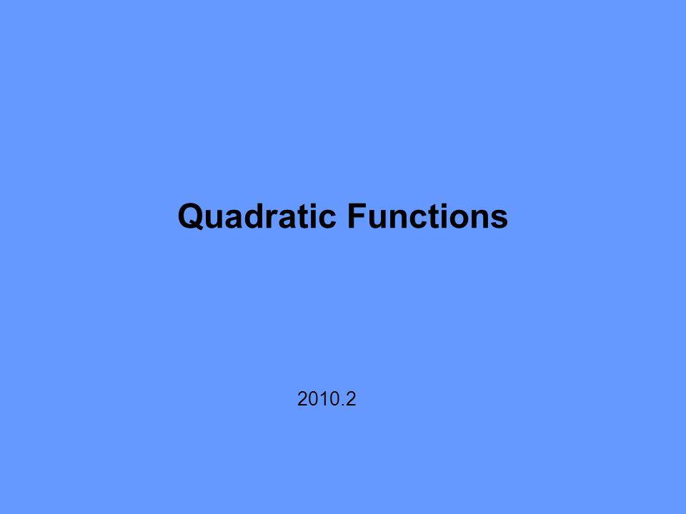 agustus 2010atman p / matematika ekonomi / 2010.2 14 Quadratic Functions y x y x y x y x y x y x a > 0 b 2 > 4ac a > 0 b 2 = 4ac a > 0 b 2 < 4ac a < 0 b 2 > 4ac a < 0 b 2 = 4ac a < 0 b 2 < 4ac (a)(b)(c) (d) (e) (f)
