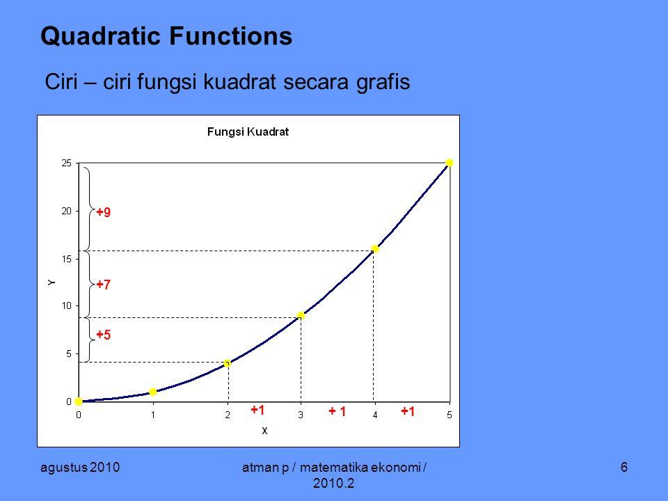 agustus 2010atman p / matematika ekonomi / 2010.2 27 Logarithmic Functions y = A b cX log y = log (A b cX ) = log A + log (b cX ) = log A + cX log b y = A e cX log y = log (A e cX ) = log A + log (e cX ) = log A + cx log e y = P (1 + b) X log y = log (P (1+b) X ) = log P + log ((1+b) X ) = log P + x log (1 + b) c log e = log (1 + b)