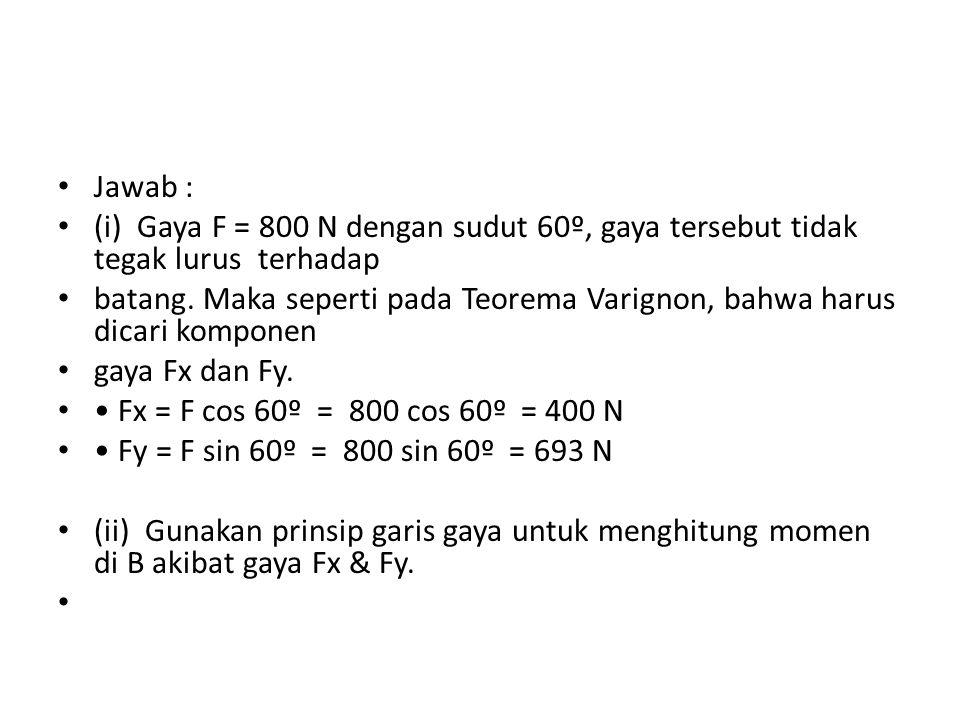 a) M = Fx.AC = 400. 0,160 = 64 N.m (searah jarum jam) Bx b) M = Fy.