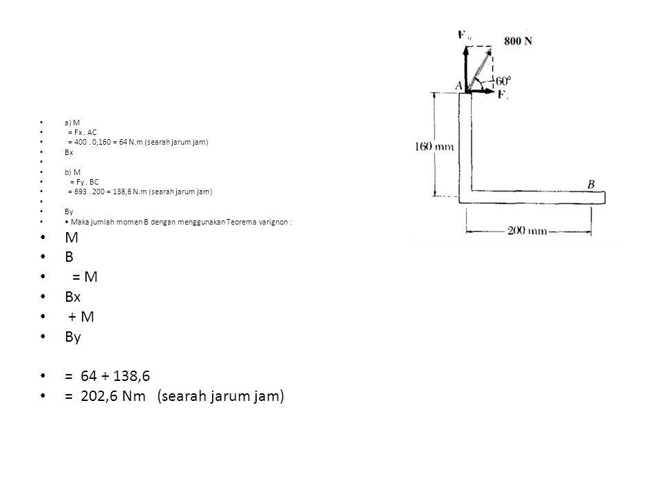 a) M = Fx. AC = 400. 0,160 = 64 N.m (searah jarum jam) Bx b) M = Fy. BC = 693. 200 = 138,6 N.m (searah jarum jam) By Maka jumlah momen B dengan menggu