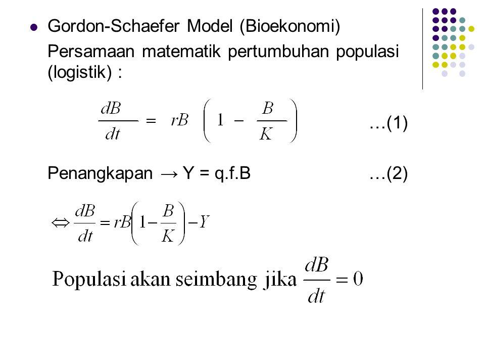 Gordon-Schaefer Model (Bioekonomi) Persamaan matematik pertumbuhan populasi (logistik) : …(1) Penangkapan → Y = q.f.B…(2)