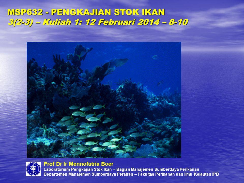 DESKRIPSI SINGKAT: Pengkajian stok ikan membahas teknik-teknik pendugaan stok baik secara anali- tik/struktural, global maupun gabungannya (holistik).