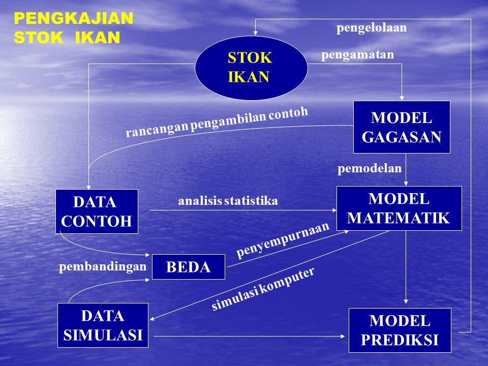 STOK IKAN MODEL GAGASAN DATA CONTOH MODEL MATEMATIK MODEL PREDIKSI DATA SIMULASI BEDA pembandingan rancangan pengambilan contoh analisis statistika si