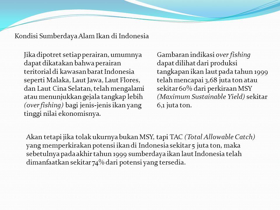Kondisi Sumberdaya Alam Ikan di Indonesia Jika dipotret setiap perairan, umumnya dapat dikatakan bahwa perairan teritorial di kawasan barat Indonesia