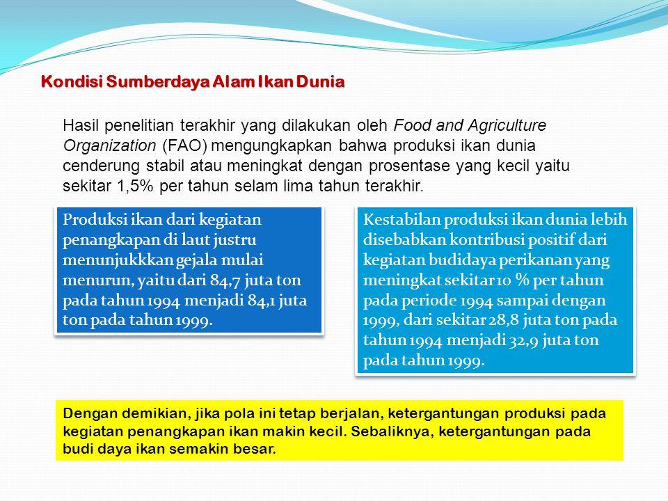 Kondisi Sumberdaya Alam Ikan Dunia Hasil penelitian terakhir yang dilakukan oleh Food and Agriculture Organization (FAO) mengungkapkan bahwa produksi
