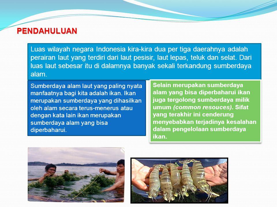 PENDAHULUAN Luas wilayah negara Indonesia kira-kira dua per tiga daerahnya adalah perairan laut yang terdiri dari laut pesisir, laut lepas, teluk dan