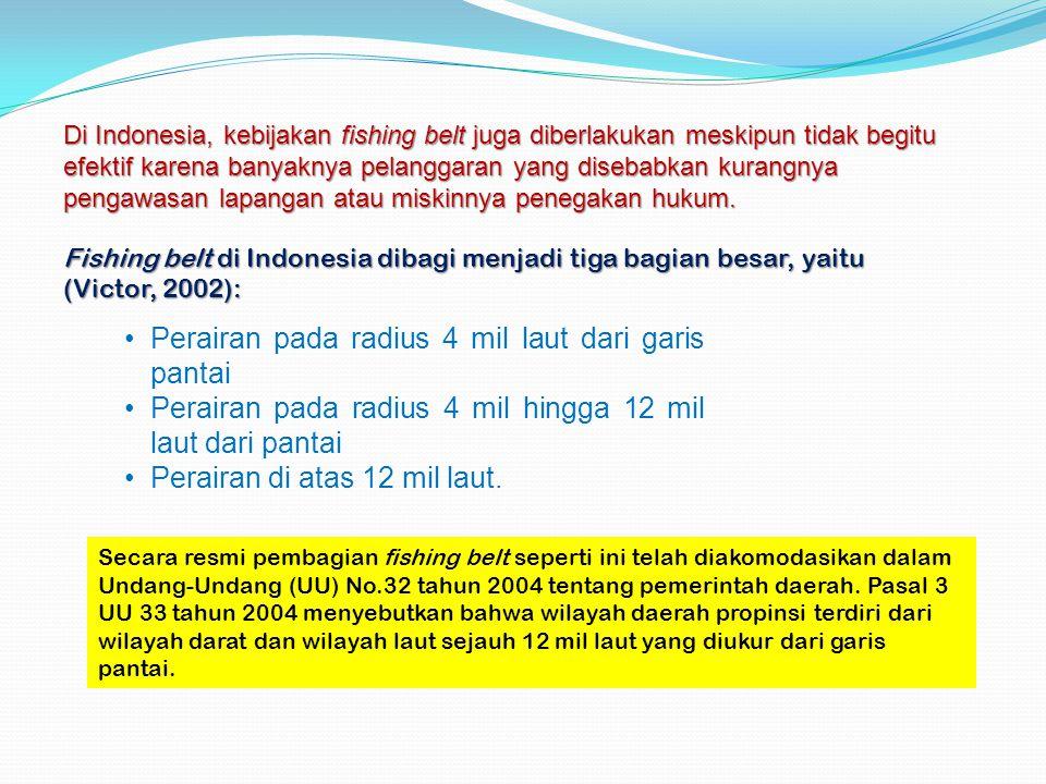 Di Indonesia, kebijakan fishing belt juga diberlakukan meskipun tidak begitu efektif karena banyaknya pelanggaran yang disebabkan kurangnya pengawasan