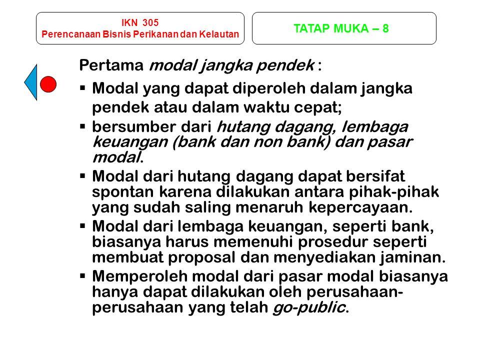 IKN 305 Perencanaan Bisnis Perikanan dan Kelautan TATAP MUKA – 8 Kedua modal jangka menengah.