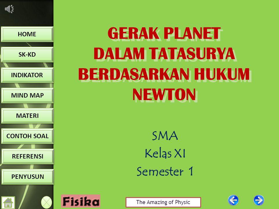 The Amazing of Physic HOME SK-KD INDIKATOR MIND MAP MATERI CONTOH SOAL CONTOH SOAL REFERENSI PENYUSUN GERAK PLANET DALAM TATASURYA BERDASARKAN HUKUM NEWTON GERAK PLANET DALAM TATASURYA BERDASARKAN HUKUM NEWTON SMA Kelas XI Semester 1