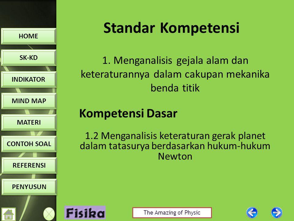 The Amazing of Physic HOME SK-KD INDIKATOR MIND MAP MATERI CONTOH SOAL CONTOH SOAL REFERENSI PENYUSUN Standar Kompetensi 1.