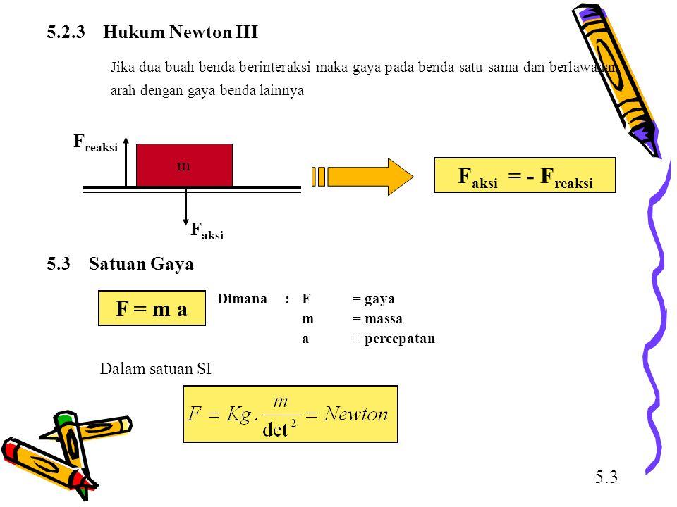 5.2.3 Hukum Newton III Jika dua buah benda berinteraksi maka gaya pada benda satu sama dan berlawanan arah dengan gaya benda lainnya F aksi = - F reak