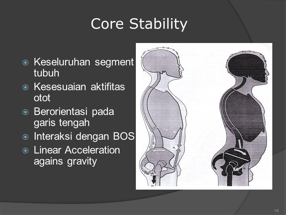 14 Anticipatory Mechanism  Strategy prediksi / awalan  Pre-Programmed muscle group / force  Meminimalkan perubahan postural  Pusat stabilisasi / core stability  Dasar melakukan gerakan selektif  Pengalaman  Gerakan atau tugas spesifik
