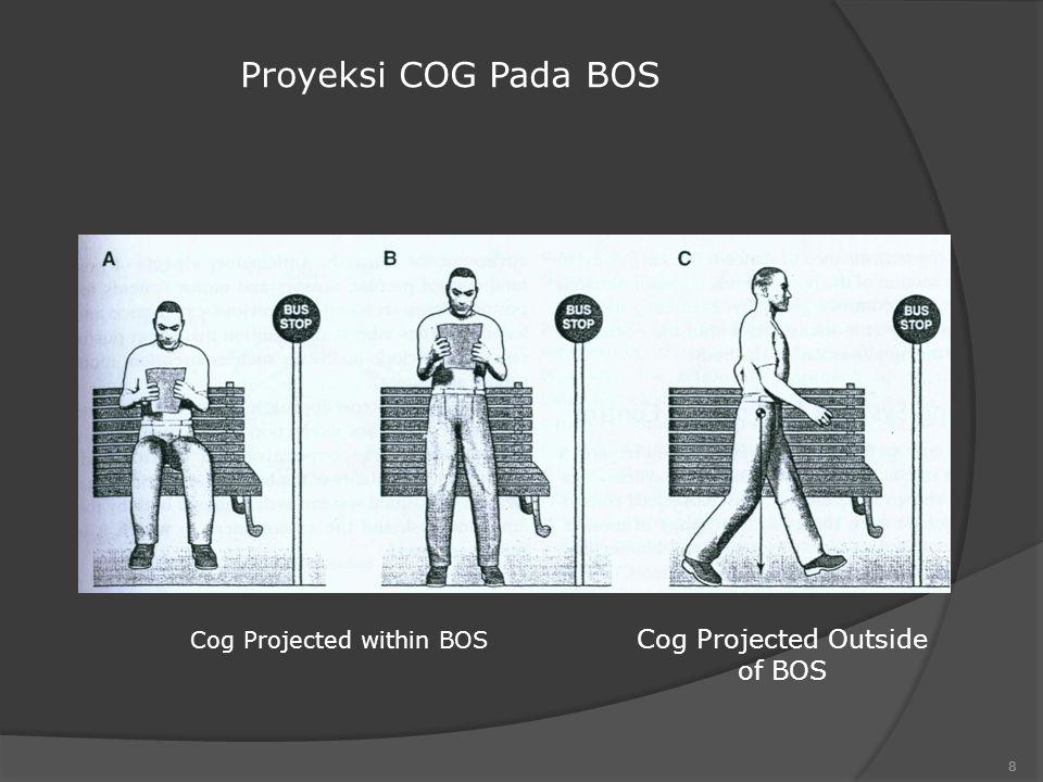 Stabilitas Postural Meliputi : - Kemampuan untuk mempertahankan pusat berat tubuh / COM / COG pada ruang batas yang disebut stability limit - Stability Limit adalah batasan area dimana tubuh bisa mempertahankan posisi tanpa merubah base of support / BOS 7