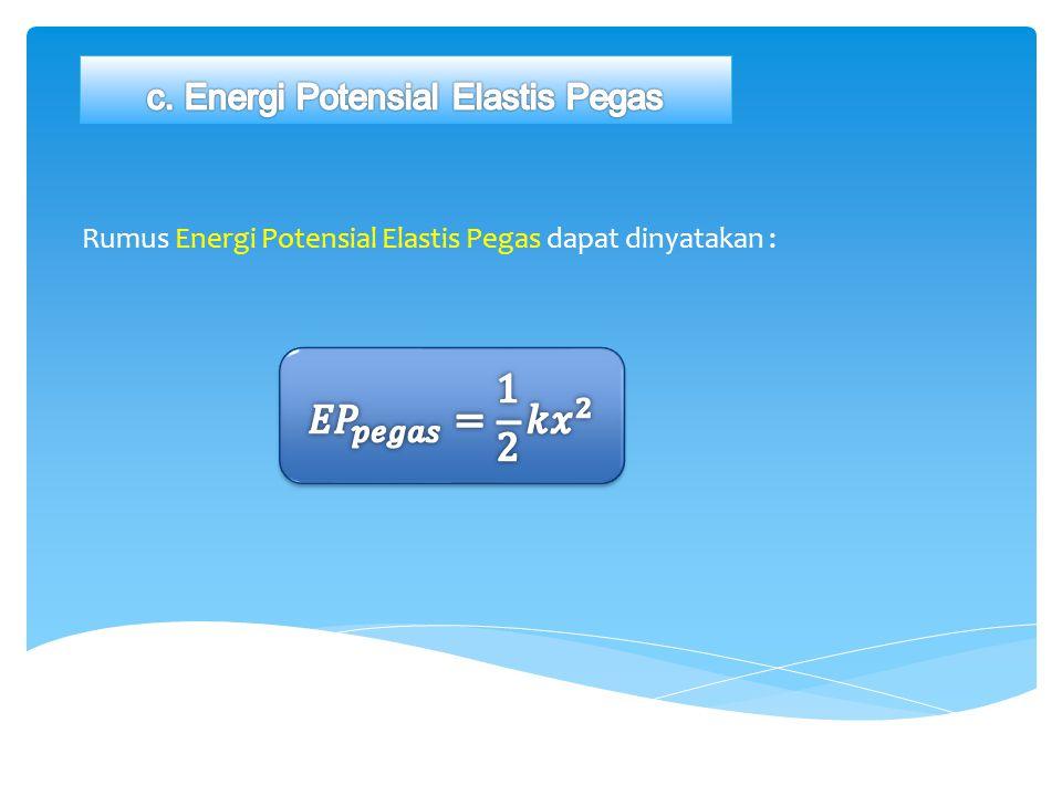 Rumus Energi Potensial Elastis Pegas dapat dinyatakan :