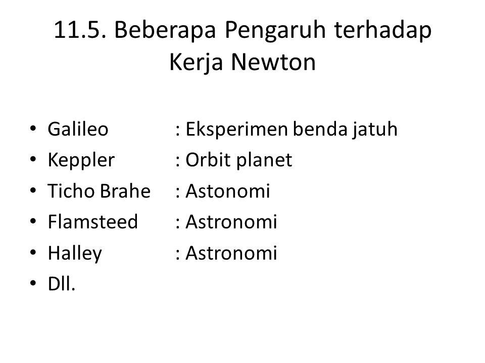 11.5. Beberapa Pengaruh terhadap Kerja Newton Galileo: Eksperimen benda jatuh Keppler: Orbit planet Ticho Brahe: Astonomi Flamsteed: Astronomi Halley: