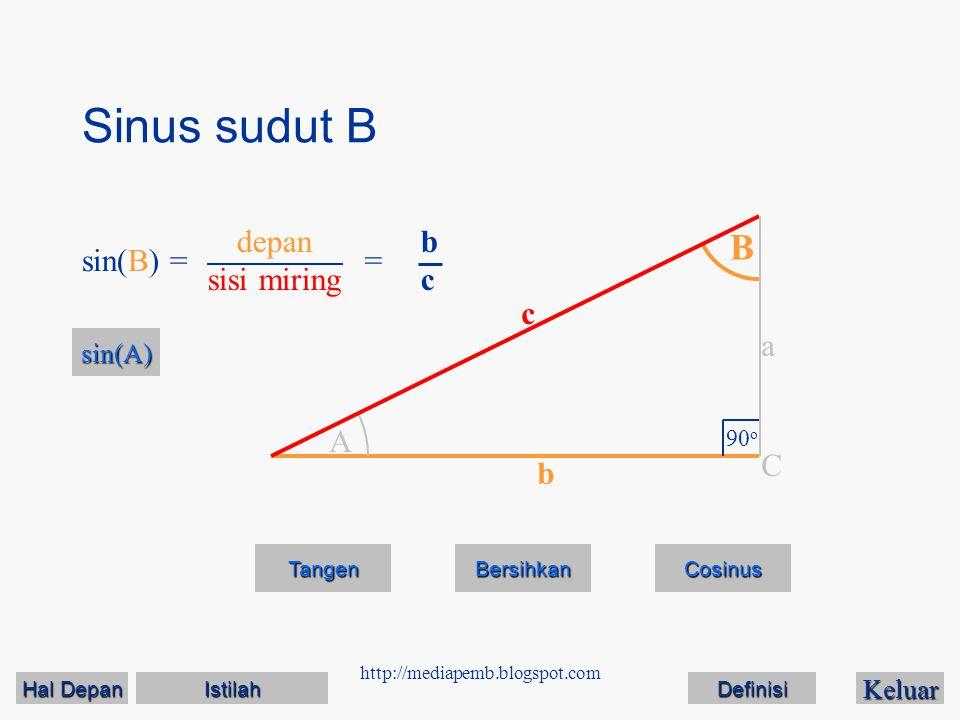 http://mediapemb.blogspot.com Sinus sudut B Keluar Tangen Bersihkan A B 90 o C a c b sin(B) == bcbc sin(A) depan sisi miring Cosinus Hal Depan Hal Dep