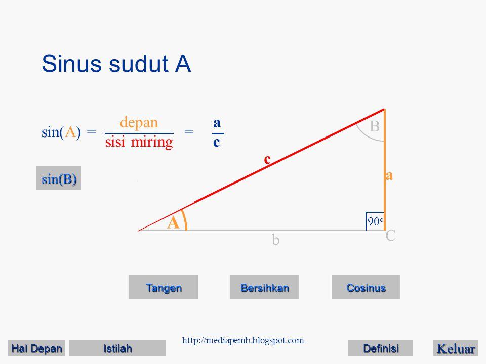 http://mediapemb.blogspot.com Sinus sudut B Keluar Tangen Bersihkan A B 90 o C a c b sin(B) == bcbc sin(A) depan sisi miring Cosinus Hal Depan Hal Depan Istilah Definisi