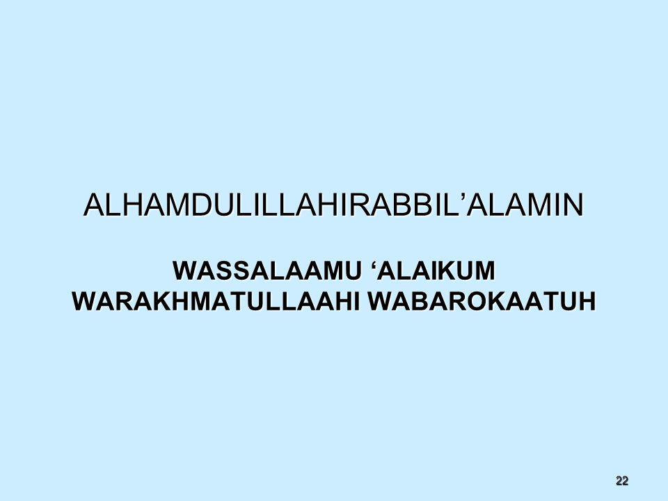 22 ALHAMDULILLAHIRABBIL'ALAMIN WASSALAAMU 'ALAIKUM WARAKHMATULLAAHI WABAROKAATUH